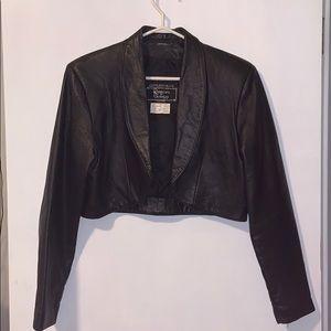 "Rumors ""n"" Gossyp cropped leather jacket size 12"